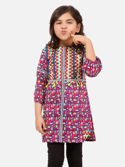 EGTKP20-70175-Girls Printed Kurti -Purple