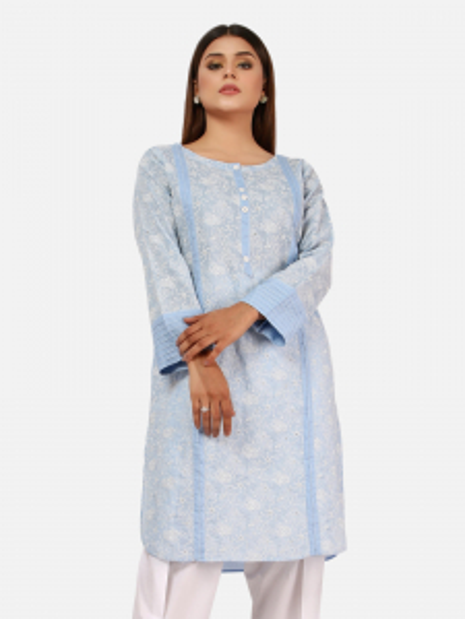 EWTKE20-66891 - Cambric Kurti - Light Blue